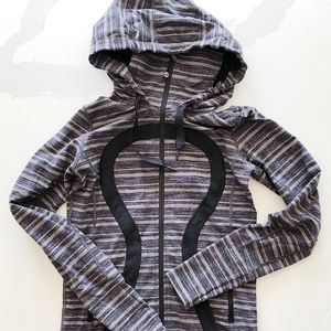 lululemon athletica Tops - lululemon | Zip Up Stretch Gray Stripe